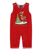 Lil Cactus SIZE 6-12 MONTHS Designer Red Reindeer Smocked Overalls - $27.99