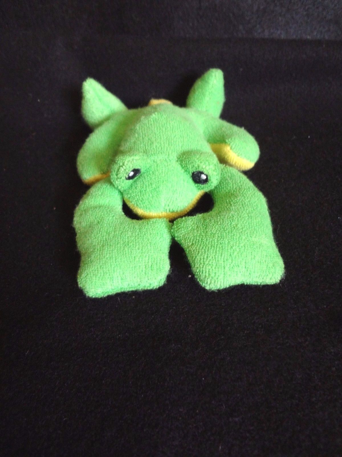 "Primary image for Baby Gund PLUSH GREEN & YELLOW FROG RATTLE 6"" Long ~ NWOT"