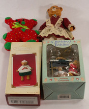 Vintage Lot of 4 Cinnamon Bear Christmas Ornament 1 Hallmark Keepsake - $14.80