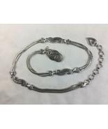 Brighton Silver Tone Bali Hai Double Chain Belt Dangling Heart Adjustable L - $28.04