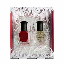 Deborah Lippmann Nail Polish Ice Queen 2 Pc Set New In Box Red Gold Glitter - $14.84