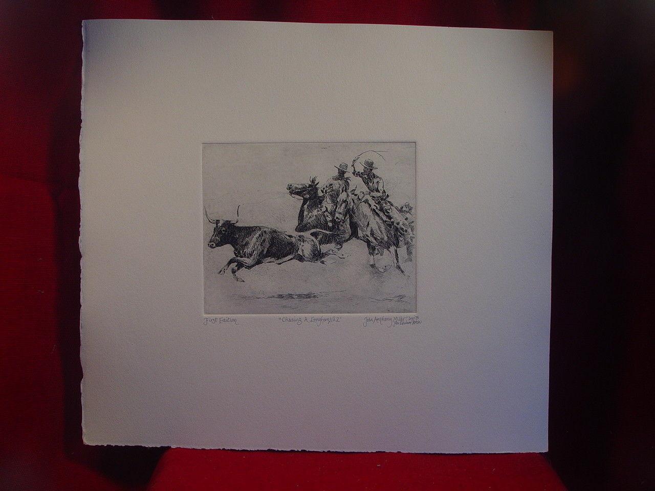 """Edward Borein Longhorn Etching """"Chasing A Longhorn No.2"""" 1st printing (Davidson)"""