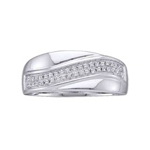 14kt White Gold Womens Round Diamond Contour Row Band Ring 1/6 Cttw - £148.51 GBP