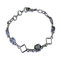 Natural Green Amethyst Bracelet 925 For Women Link Lobster Clasps L 6.5-... - $44.85