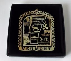 Vermont State Landmarks Brass Ornament Black Leatherette Box - $13.95