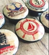 6 Nautical Knobs Drawer Pull Set, Vintage Style Knobs, Nursery Knobs, Wh... - $35.64