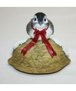 Ceramic Bird On Nutshell – Winter or Christmas Décor  - $14.84