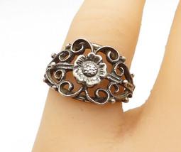 925 Sterling Silver - Vintage Flower Swirl Design Tapered Band Ring Sz 6... - $25.31