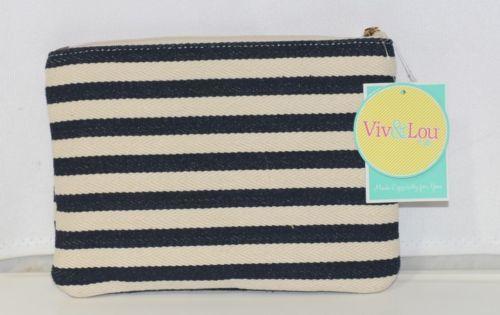 Viv and Lou M728VLCSTRP Black White Stripe Chandler Zip Pouch