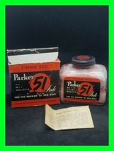 Vintage Parker 51 China Red Ink Bottle Collectible With Original Box And Paper - $29.09