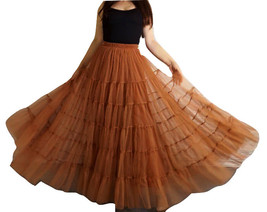 A Line Layered Tulle Skirt Full Long Layered Ruffle Tulle Skirt Brown image 2
