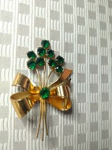 Sterling Coro Craft Vintage Brooch Golden Christmas Bow With Green Stones - $39.00