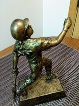Bronze Sculpture baseball Player Figurine Bronze Statue, Signed: PDU image 2