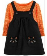 Carter's Baby Black Cat Halloween Jumper Dress Outfit Size 6M 6 Months - $26.04