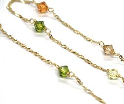 18K YELLOW GOLD NECKLACE, ALTERNATE FACETED MULTI COLOR CRYSTALS SINGAPORE CHAIN image 3