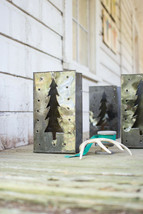 SALE -> Handcrafted Christmas Tree Tin Bag Luminary Holiday Lighting Dec... - $24.95