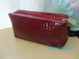 Estee Lauder Glossy Shine Dark Red Croc Embossed Cosmetic Bag - $13.85