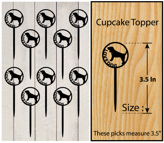 Decorations Wedding,Birthday Cupcake topper,silhouette love dog Package : 10 pcs