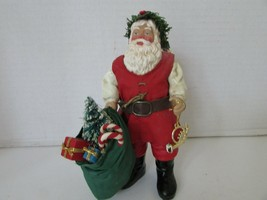 """CLOTHTIQUE BY POSSIBLE DREAMS SANTA 1994 WITH SACK OF PRESENTS & HORN 7""""H - $14.80"""