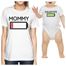 Mommy & Daughter Battery White Mom and Daughter Couple Shirt Gifts - $30.99