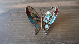 Beautiful Antique 800 Silver & Enamel Filigree Butterfly Designer Pin Br... - $79.19