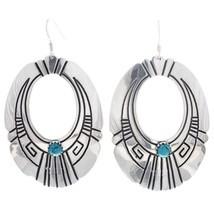 Navajo Rosita, Tommy Singer Classic Turquoise Sterling Hoop Dangle Earrings - £92.07 GBP
