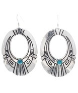Navajo Rosita, Tommy Singer Classic Turquoise Sterling Hoop Dangle Earrings - $128.00