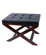 Remsoft Upholstered X Bench Ottoman in Black and Cream Color (black) - $49.99