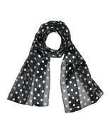 New MTL Womens Satin Polka Dot Scarf, Black - $8.95