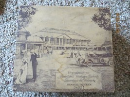 ANTIQUE GERMAN ADVERTISING WOODEN CANDY BOX,HENKELL TROCKEN WITH OLD CARS - $61.75