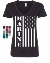 Marine Flag Military Women's V-Neck T-Shirt Patriot Stars & Stripes POW MIA - $8.08+
