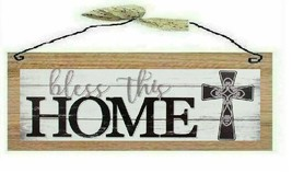 Bless This Home Picture White Family Cross Wooden Wood Wall Hanging Sign... - $7.99