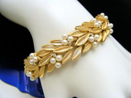 Crown Trifari Bracelet Faux Pearl Foliate Tiny Rhinestone Accents Gold T... - $118.31