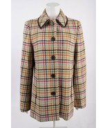 Coach Wool Coat Jacket Tattersall Houndstooth 100% Wool Leather trim M M... - $178.19
