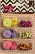 Basic Grey Hey Girl Buttons & Brads Combo Embellishments Pack - $4.99