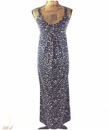 Ann Taylor Maxi Dress XS White Navy Blue Abstract Empire Bow Top Long St... - $15.95