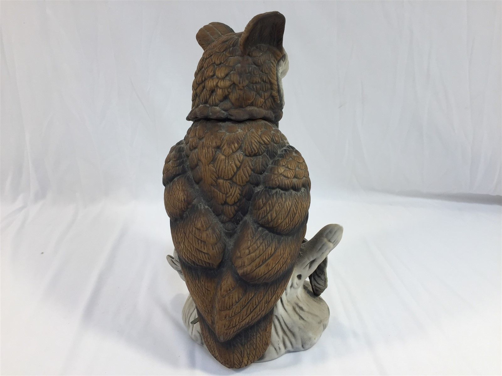 "Vintage Ceramic Owl Musical Box Figurine Approx. 10"" Tall"