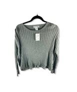 NWT COTTON EPORIUM Women's Ribbed Gray Side Button Sweater Medium  - $16.58