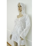 Nwt Dotti  L/S Hooded Swimsuit Beach Dress Swim Cover Up Sz M Medium Whi... - $29.65