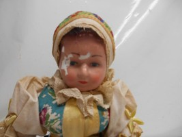 """Old Vtg COMPOSITE FACE BABY DOLL 12"""" tall Cloth Body Jointed Doll Clothe... - $39.59"""