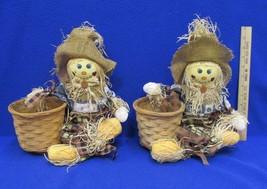 Scarecrow Wicker Basket Planter Pair Set 2 Thanksgiving Fall Autumn Plas... - $16.82