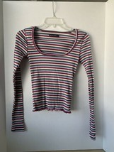 abercrombie & fitch Striped ribbed top with scoop neck XS Womens - $12.86