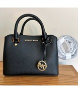 Michael Kors Small Satchel Bag ~ Black Leather Savannah Handbag Purse Ne... - $134.95