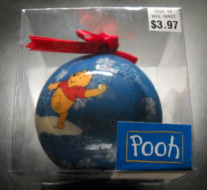 Pooh Christmas Ornament Seasonal Specialties 1998 Disney Lightweight Blue Ball - $6.99