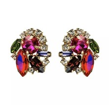 Pink Crystal Post Earrings Lilly Styled Cute Colorful Gold Chinoiserie S... - $21.34