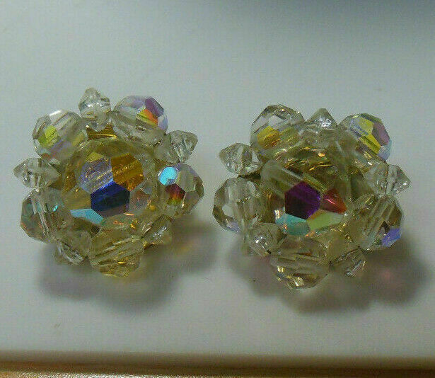 Primary image for Vintage Signed Lisner Gold-tone AB Crystal Clip-on Earrings