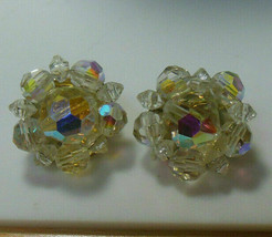 Vintage Signed Lisner Gold-tone AB Crystal Clip-on Earrings - $44.55