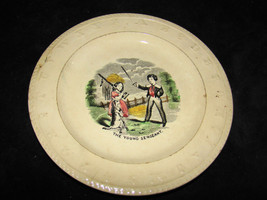 Antique Staffordshire The Young Serg EAN T Boy Dog Abc Child's Plate Transferware - $50.00