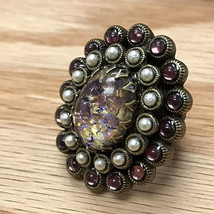 Amethyst Art Glass Ring - $31.68