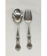 1847 Rogers Bros Silver Plate Heritage Large Serving Spoon And Fork Sala... - $18.37